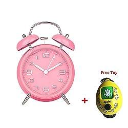 Battery Travel Alarm Clock ,Savman 4 3D Digital Twin Bell Loud Table Alarm Clock with Nightlight Quartz Analog Clock for Kids, Bedroom (Pink)