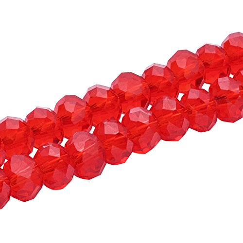 Pandahall 100pcs/Strand Handmade Imitate Austrian Crystal Rondelle Faceted Abacus Glass Beads Loose Spacer Charms for Jewelry Makings Craft Supplies Red 6x4mm