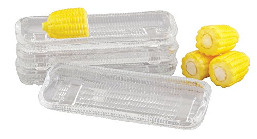 HIC Harold Import Co. 43206 HIC Corn Dishes, Glass, Set of 4, 8.5-Inches, Clear