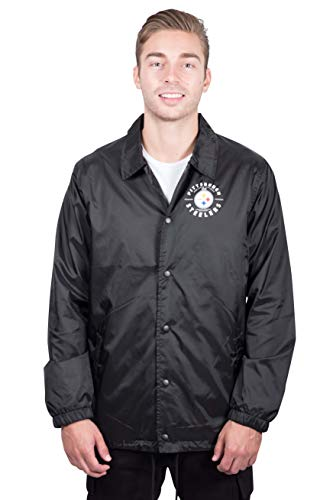 (ICER Brands NFL Pittsburgh Steelers Men's Coaches Jacket Snap Front Waterproof Windbreaker, Large, Black)