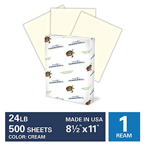 Hammermill Cream Colored 24lb Copy Paper, 8.5x11, 1 Ream, 500 Total Sheets, Made in USA, Sustainably Sourced From American Family Tree Farms, Acid Free, Pastel Printer Paper, 168060R