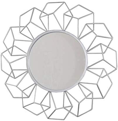 Your Home and Beyond Modern Contemporary 23.25x2x23.25 3D Geometrical Shaped Silver Round Metal Wall Hanging Decorative Mirror Addison Collection