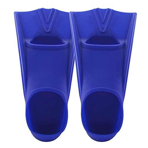 TOPCHAMCES(TM) Rubber Swim Training Fins Flippers for Men, Women and Kids, Short Training Fins for Swimming (Blue, F800(M)36-38 - Rubber Flippers