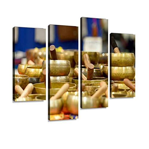 (Tibetan Singing Bowls Canvas Wall Art Hanging Paintings Modern Artwork Abstract Picture Prints Home Decoration Gift Unique Designed Framed 4 Panel)