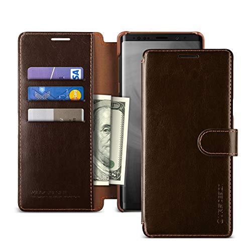 Note 9 Case, VRS Design [Brown] 3 Cards PU Leather Wallet [Layered Dandy] Phone Case Flip Folio Wallet Cover for Samsung Galaxy Note 9 (2018)