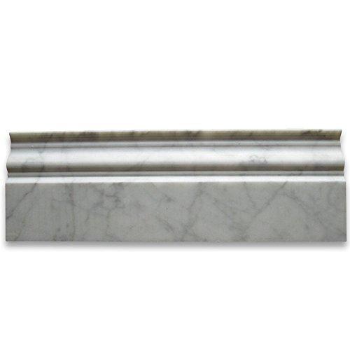 Carrara White Italian Carrera Marble Baseboard Crown Molding 4 x 12 Honed by Stone Center - Italian Carreras