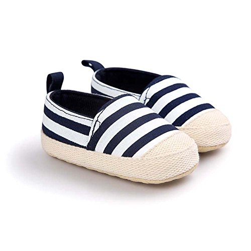 Zapatitos Primeros Pasos antideslizante Rayas Pantuflas Infantiles Zapatos suela suave de Bebé azul oscuro