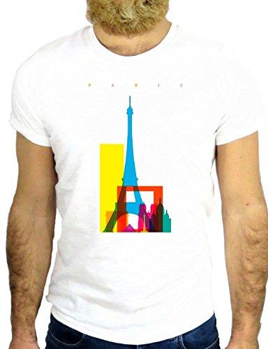 T SHIRT Z1126 PARIC FRANCE COOL CITY SKYLINE VINTAGE FUN FUNNY AMAZING USA GGG24 BIANCA - WHITE M