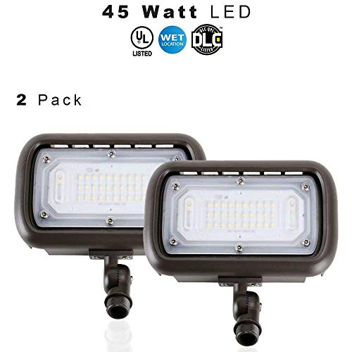 LED Outdoor Security Flood Light, Waterproof, 45 Watt (400W Equivalent) 5400 Lumens, 5000K Daylight White, UL & DLC – Knuckle Mount – 5 Year Warranty – 2 Pack