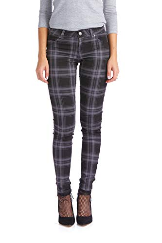 Suko Jeans Women's Stretchy Plaid Skinny Pants Jeggings 17232 Grey/BLACK8