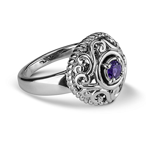 Carolyn Pollack Sterling Silver Purple Amethyst Gemstone February Birthstone Ring Size 7