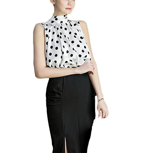Women Sleeveless Chiffon Plus Size Elegant Blouse Highneck Tank Top with Dots (XL, White)