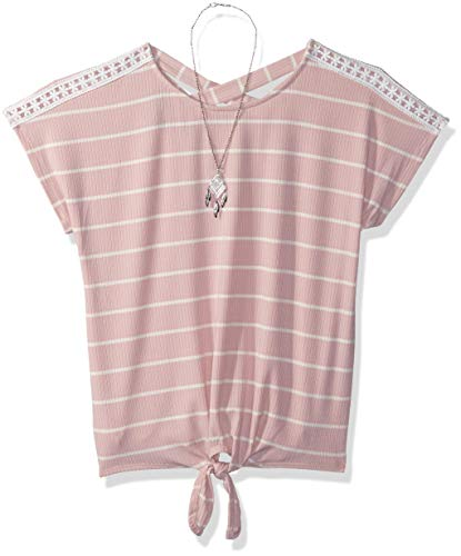 Amy Byer Girls' Big Short Sleeve Tie-Front Top, Boho Rose, M by Amy Byer
