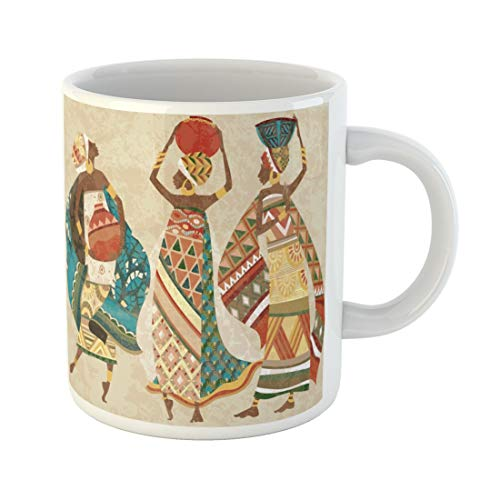 Semtomn Funny Coffee Mug Pattern Dreams of Africa Ethnic African Pottery Kanga Women Figure 11 Oz Ceramic Coffee Mugs Tea Cup Best Gift Or Souvenir]()