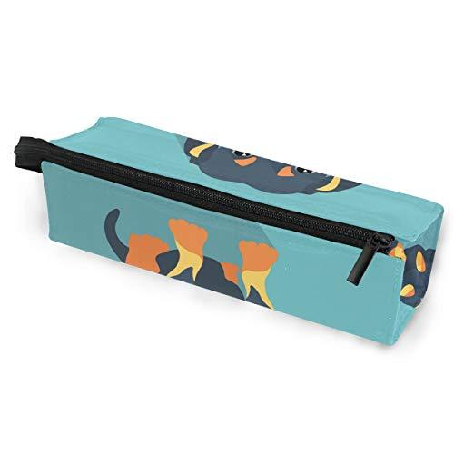 KEAKIA Dog Dachshund Pencil Case Zipper Eyeglasses Case Sunglasses Pouch Cosmetic Bags with Hanging - Holder Eyeglass Dachshund