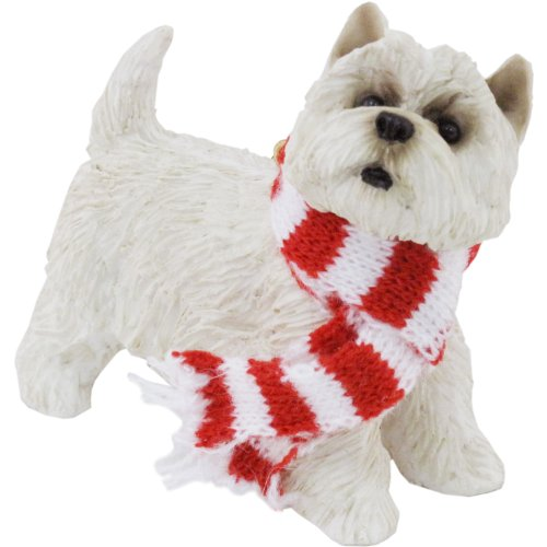 Sandicast West Highland White Terrier with Red and White Scarf Christmas Ornament ()
