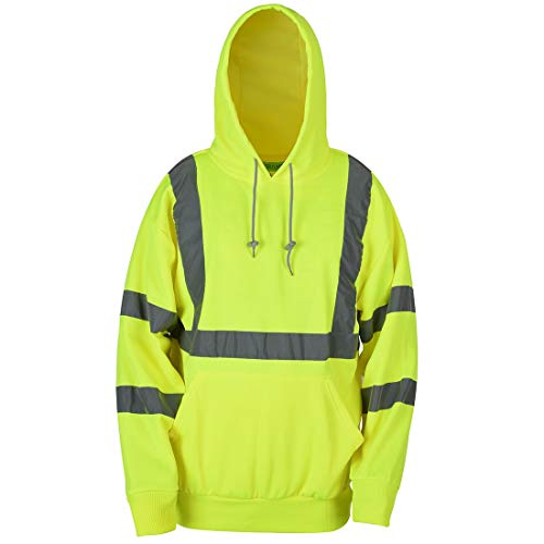 SHORFUNE High Visibility Sweatshirt with Pocket and Reflective Strips, Yellow, Meets ANSI/ISEA Standards, L