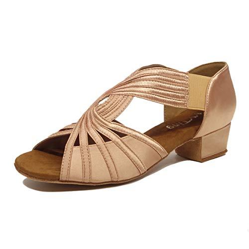 Low Heel Women Ballroom Dance Shoes Salsa Batchata Social Beginner Practice Wedding Dancing 2'' Heels YT04(9, Nude)