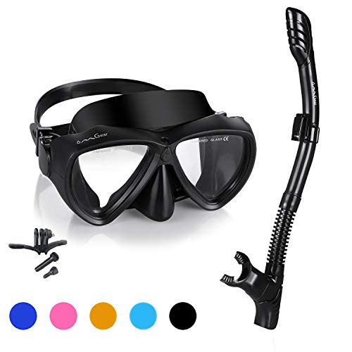 Snorkel Set Snorkeling Gear Package Diving Set Premium Silicone Dive Mask Snorkel Equipment Goggles Anti-fog Anti-leak Neoprene Mask Strap Scuba Diving Freediving Spearfishing Swimming (black-camera )