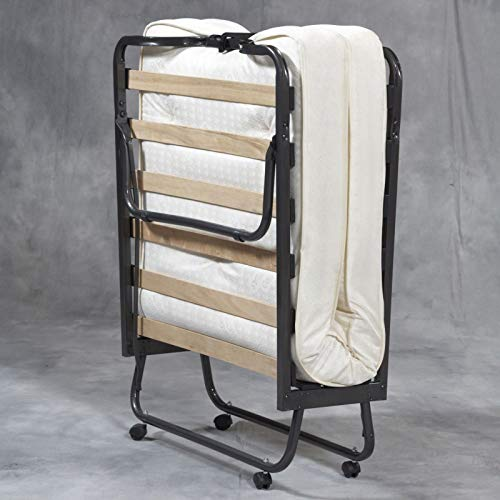 Twin Size Bed Frame Folding Metal Classic Portable Twin Bed Frame Memory Foam Mattress Durable Camping Sleeper Solid Fold Metal Roll Away Bed Frame Elegant Foldable Bedroom Furniture Black