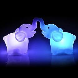 Dirance Elephant Shape 7 Color Changing LED Night Light Desk Lamp Wedding Party Bedroom Home Decor Gift for Girls