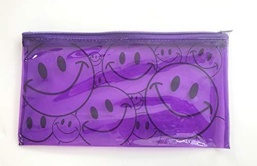 (12PCS Purple Smiley FACE Pencil CASE, Pouch with Zipper Pocket - SMILEYPURPLE)