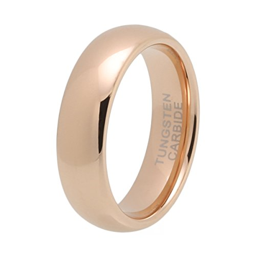 iTungsten 6mm 8mm Rose Gold Mens Womens Wedding Bands Tungsten Carbide Engagement Rings Domed Comfort Fit ()