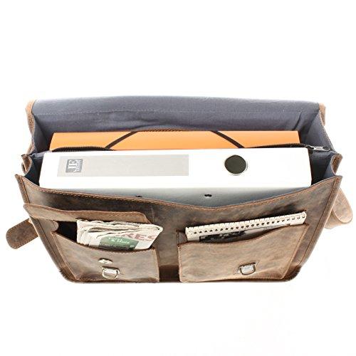 leconi grandes maletín retro Cartera Funda Unisex Hombre & Mujer para profesores auténtica piel de búfalo schultasche 39x 30x 12cm le3030 braun - vintage