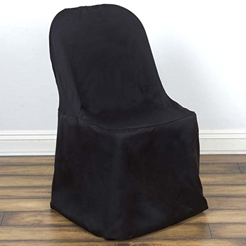 Efavormart 50pcs Black Linen Polyester Folding Chair Cover Dinning Chair Slipcover for Wedding Party Event Banquet ()