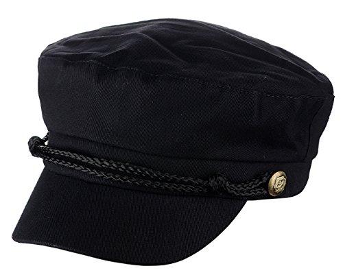 D&Y Ladies Summer Cotton Greek Fisherman Sailor Fiddler Driver Hat Flat Cap, Black by D&Y