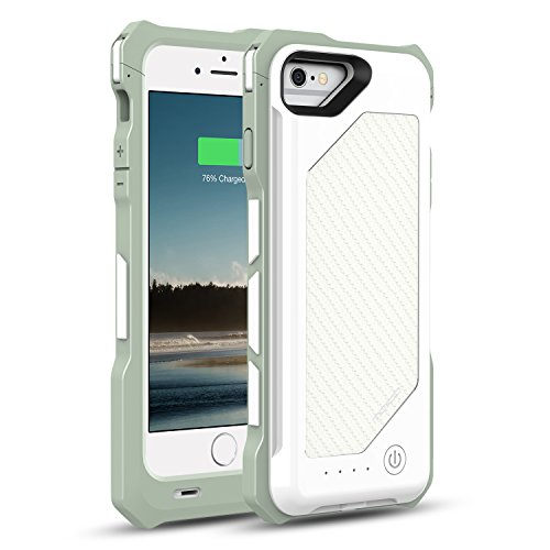 MoKo iPhone 7 / 6s / 6 Battery Case - Portable 3500mAh Carbon Fiber Protective Charger Charging Case with Removable / Rechargeable Power Cover for iPhone 7 / 6s / 6 4.7