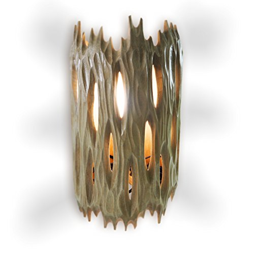 RoRo Wood Tropical Wall Lamp with carved grooves, 16
