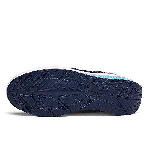 Enllerviid Kvinnor Mesh Form Ups Mode Sneakers Plattform Kilar Sport Fitness Träna Skor 975 Blå / Röda