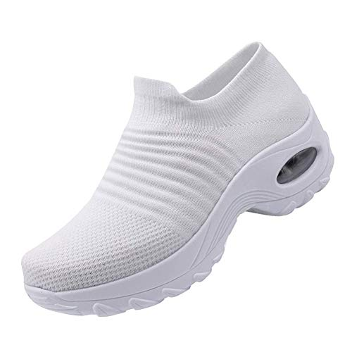 Ablanczoom Womens Comfortable Walking Shoes Breathable Mesh Slip On Air Cushion Tennis Sock Sneakers Casual Running Shoes Wedge Platform Loafers White
