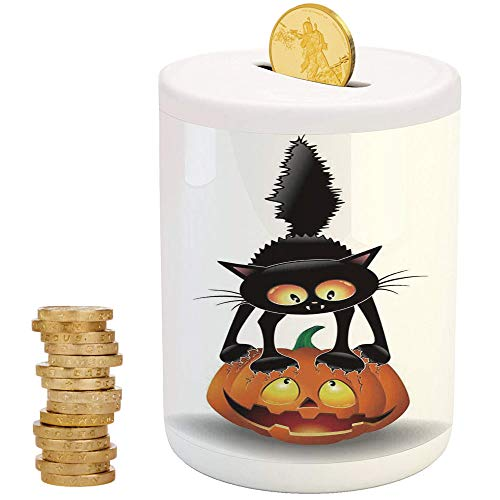 Halloween Decorations,Ceramic Child Bank,Printed Ceramic Coin Bank Money Box for Cash Saving,Black Cat on Pumpkin Spooky Cartoon Characters Halloween Humor -