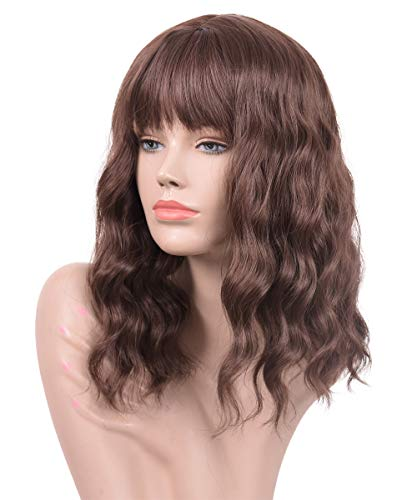 Goodly Dark Brown Short Wigs with Air Bangs for Black White Women Natural Healthy Brunette Brown Curly Wavy Womens Synthetic Wigs 14 Inch Medium Length Brown Bob Wig with Bangs