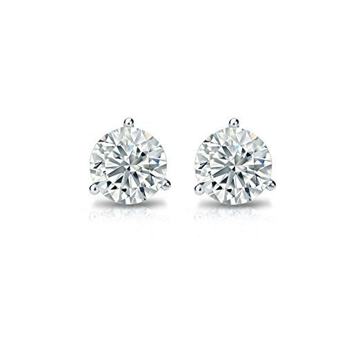 Solitaire Real 14k White Gold Round Diamond Stud Earrings (Promo)(Color- KLMN,Clarity I3/I4) Martini Setting(0.14)