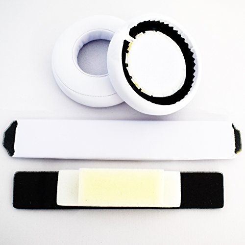 White Replacement Headband Ear Pad Earpads Cushion Set For Beats by Dr. Dre Pro Detox Headphones