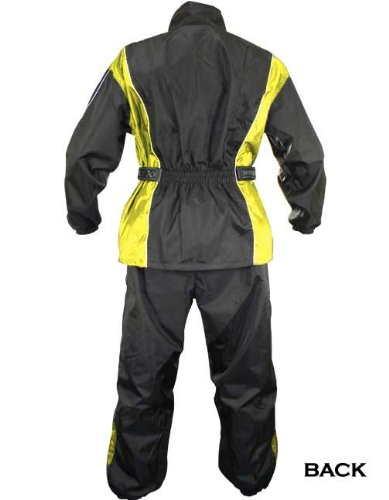 Xelement RN4782 Mens Black/Yellow 2-Piece Motorcycle Rainsuit - Large