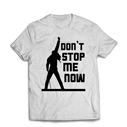 lepni.me Men's T-Shirt Don't Stop me Now! Vintage Rock Band Clothing, Musically Merch (Small White Multi Color)