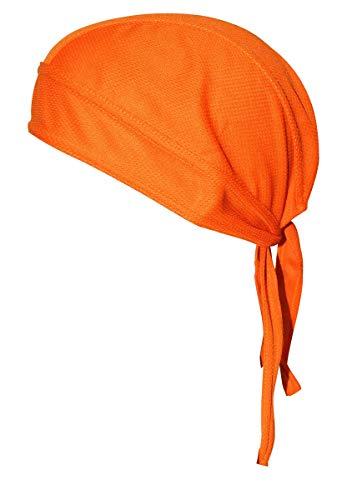 QING Sweat Wicking Beanie Cap Hat Chemo Cap Skull Cap for Men and Women (Orange 1 Pack)]()