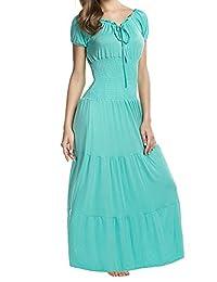 Meaneor Boho Cap Sleeve Smocked Waist Tiered Renaissance Summer Maxi Dress