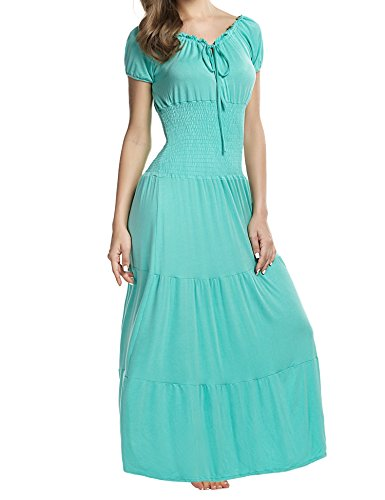 (Meaneor Women Boho Cap Sleeve Smocked Waist Tiered Renaissance Summer Maxi Dress (XL, Light Green))