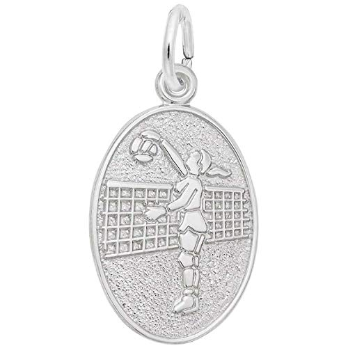 Rembrandt Charms Female Volleyball Charm, 14K White Gold
