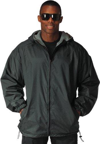 Reversible Fleece Lined Nylon Jacket with Hood BLK/2XLRG