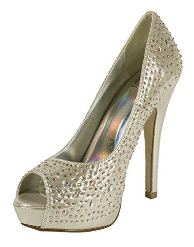 Peep Toe De Las Mujeres Lustacious Cristal Iridiscente Tachonado Plataforma Semi Escondida Slip On Tacones Altos Plata Shimmer