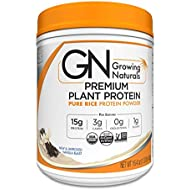 Growing Naturals | Organic Premium Plant Based Protein, Pure Rice Protein Powder | Vanilla Blast | Non-GMO, Vegan, Gluten-Free, Keto Friendly, Shelf-Stable | 1LB