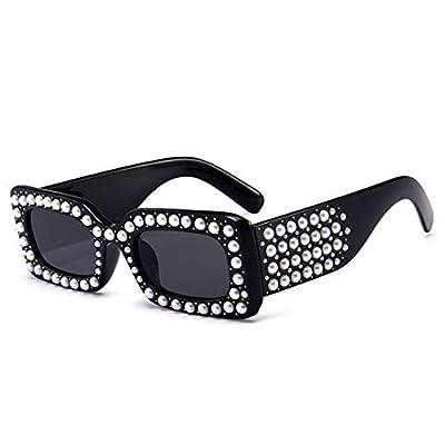 NEW Pearl Rectangular Sunglasses Women Vintage Diamond Female Narrow Square Sun Glasses Shades 544