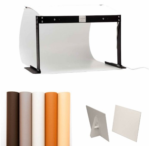MyStudio PS5 Portable Table Top Photo Studio Lightbox Bonus Kit with 5 Colored Backgrounds and two 9' x 12' White Bounce Card Reflectors