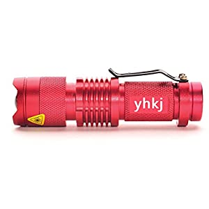 Ultra Bright Mini Flashlight Led,Waterproof Tactical Waterproof Torch,7w 300lm Adjustable Focus SK68 Zoom Light Lamp for cycling, climbing, camping and outdoor activity etc(Red)